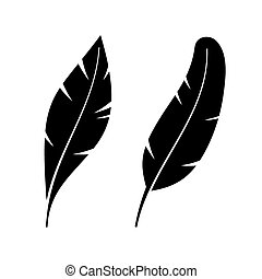 Two Icon Style Feathers. Vector