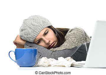 Sick Woman in Winter Attire with Laptop and tea - Close up...