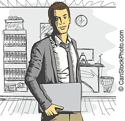 Vector man with laptop in his hands