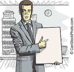 Vector Businessman With Empty Write Board - Vector...