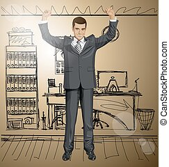 Vector Businessman With Hands Up 06 - Vector happy...