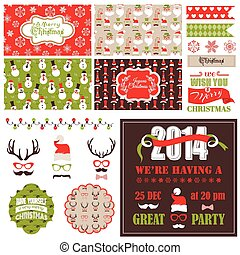 Christmas Retro Party Set - cards, ribbons, labels, party...
