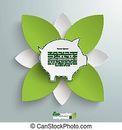Eco Piggy Bank Green Flower - Infographic design on the grey...