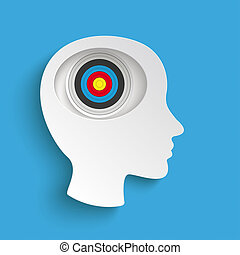 Big Head Blue Background Target - Infographic with white...
