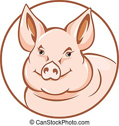 Farm pig in circle for agriculture design