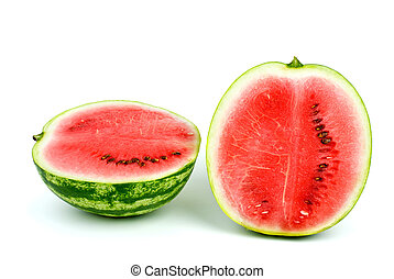 Two halves of watermelon isolated on the white background