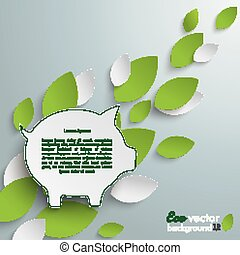 Piggy Bank Green Leaves - Silver background with leaves and...