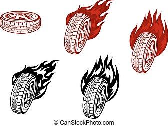 ruedas, con, fuego,