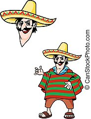 Mexican man in cartoon style for design