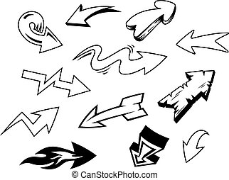 Doodle arrows - Set of doodle arrows isolated on white...