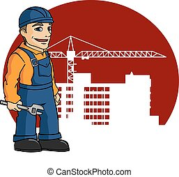 Worker on building site for construction industry design