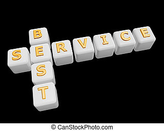 best service cross word isolated on dark background