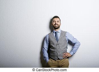 Hipster businessman - Studio shot of modern hipster...