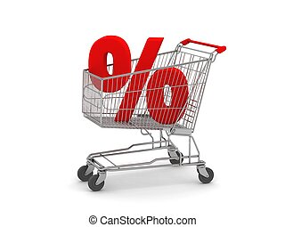 Shopping Cart with Percent Sign - digital render of a...