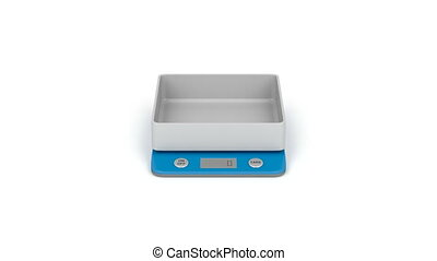Digital kitchen weight scale on white background