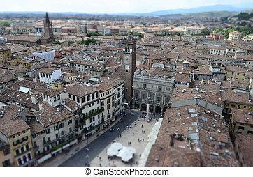 View over Piazza delle Erbe (Market's square), Verona, Italy