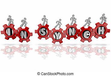 em, Synch, Trabalhadores, equipe, organização,...