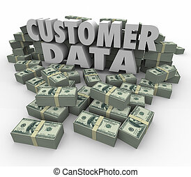 Customer Data 3d Words Money Cash Stacks Piles Valuable...