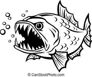Vectors Illustration of Angry fish in cartoon style isolated on ...
