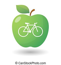 Apple icon with a bicycle - illustration of an isolated...