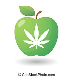 Apple icon with a marijuana leaf - illustration of an...