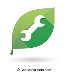 Green leaf icon with a monkey wrench - Illustration of an...