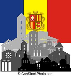 Andorra - State flags and architecture of the country...