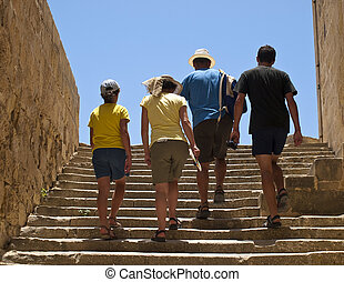 Family Vacation - Family on vacation in a Mediterranean...