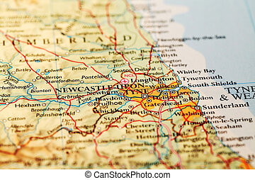 Newcastle upon Tyne on map - Newcastle upon Tyne, England on...