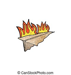 cartoon burning paper aeroplane