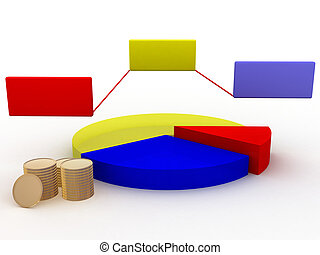 pie chart with money - illustration of a pie chart with...
