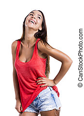 Beautiful woman laughing - Beautiful young woman laughing,...