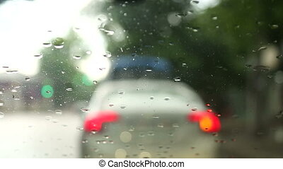 Following a Car While Driving During Rain - Driving during...
