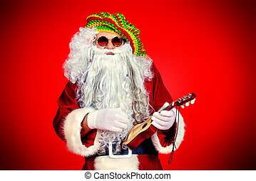 santa play - Casual Santa Claus hippie playing ukulele over...