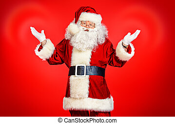 old aged - Image of Santa Claus in red costume against red...