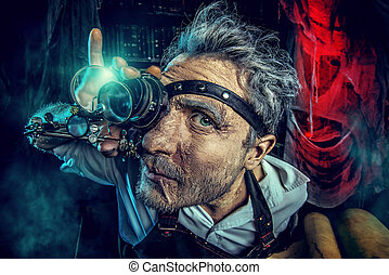crazy man - Portrait of a crazy medieval scientist working...