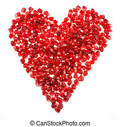 Love heart shaped pomegranate seeds - Pomegranate seed pile...