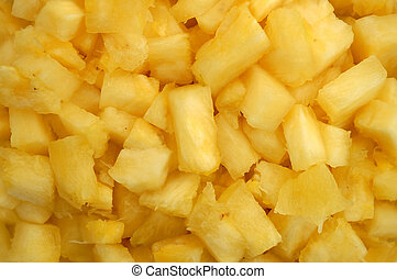 Close up of pineapple chunks - Close up macro shot of juicy...