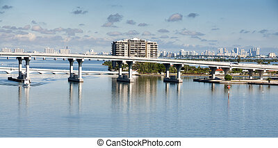 Biscayne Bay causeway bridge in Miami, Florida, USA