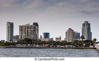 Waterfront buildings in St. Petersburg, Florida, USA