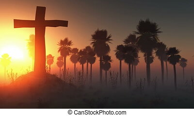 cross silhouette with palms and glo