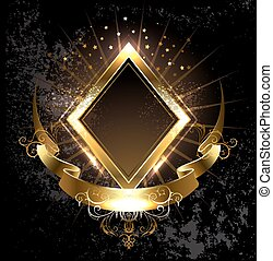 gold banner rhombus - rhombus golden banner with gold ribbon...
