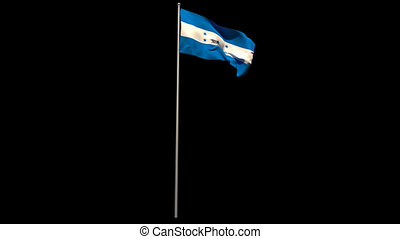 Honduras national flag waving on flagpole on black...