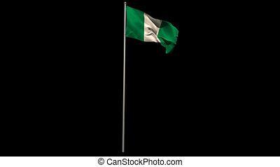 Nigeria national flag waving on flagpole on black background