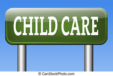child care or protection in daycare or crèche by nanny or au...