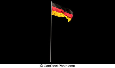 Germany national flag waving on flagpole on black background