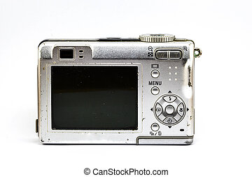 old compact camera on white