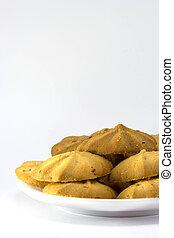raisin cookie on white