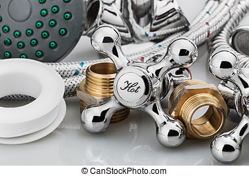 plumbing and tools - plumbing and tools on a light...