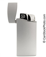 lighter - single silver lighter against the white background
